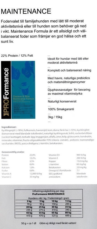 Netauktion.se - Pro Formance Chicken & Rice Maintenance Formula - 0898-049 - 2